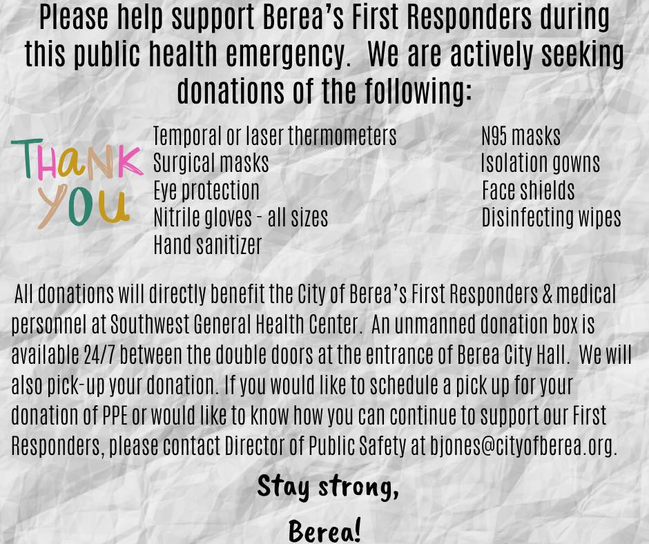 thank you berea donations flyer