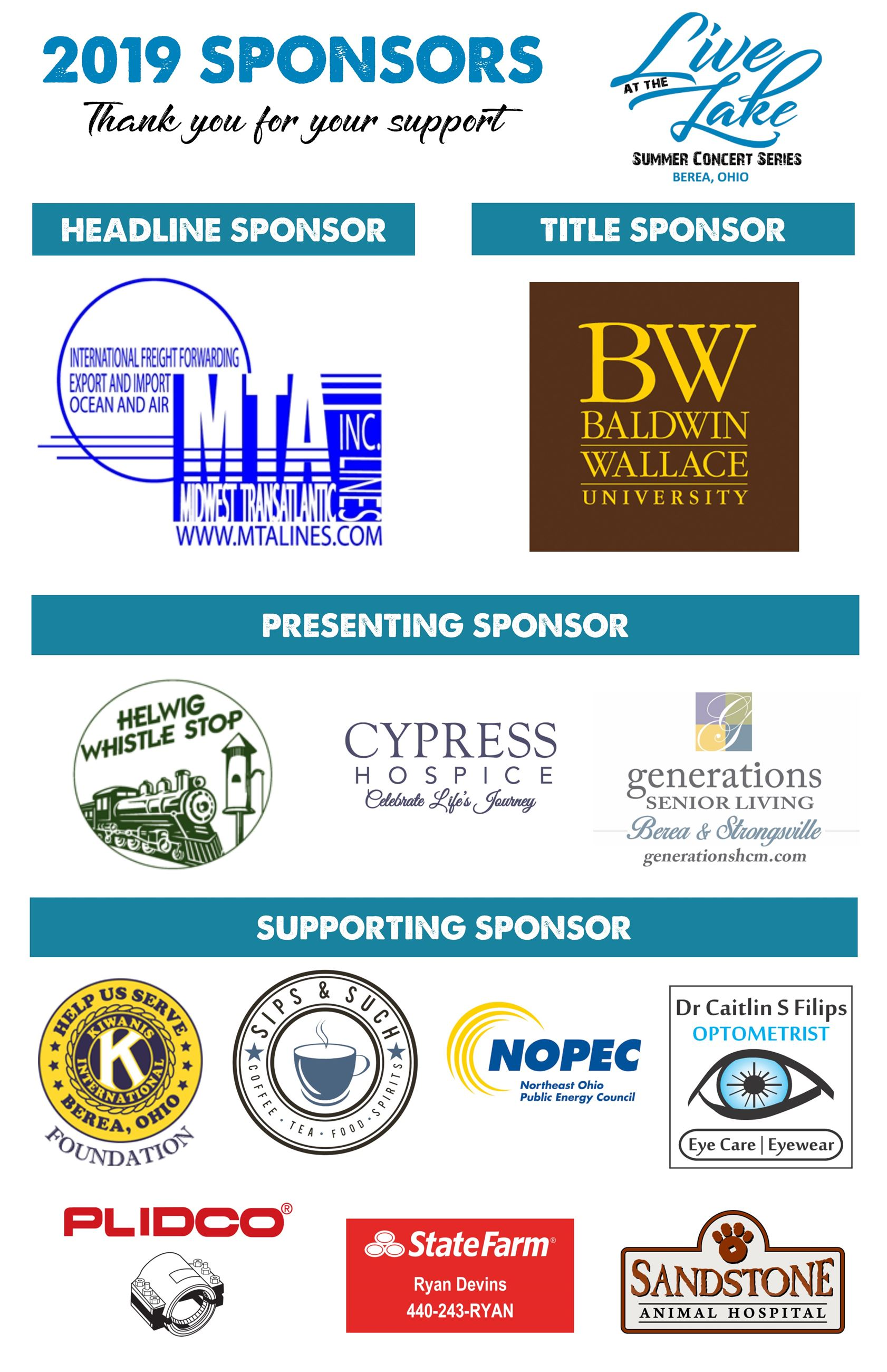 Logos of all businesses that sponsored the event