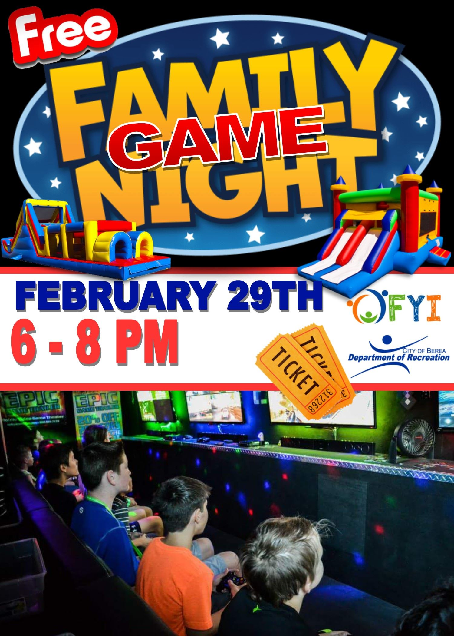 Flyer about game night which includes photos of bouncy houses, text and children playing video games