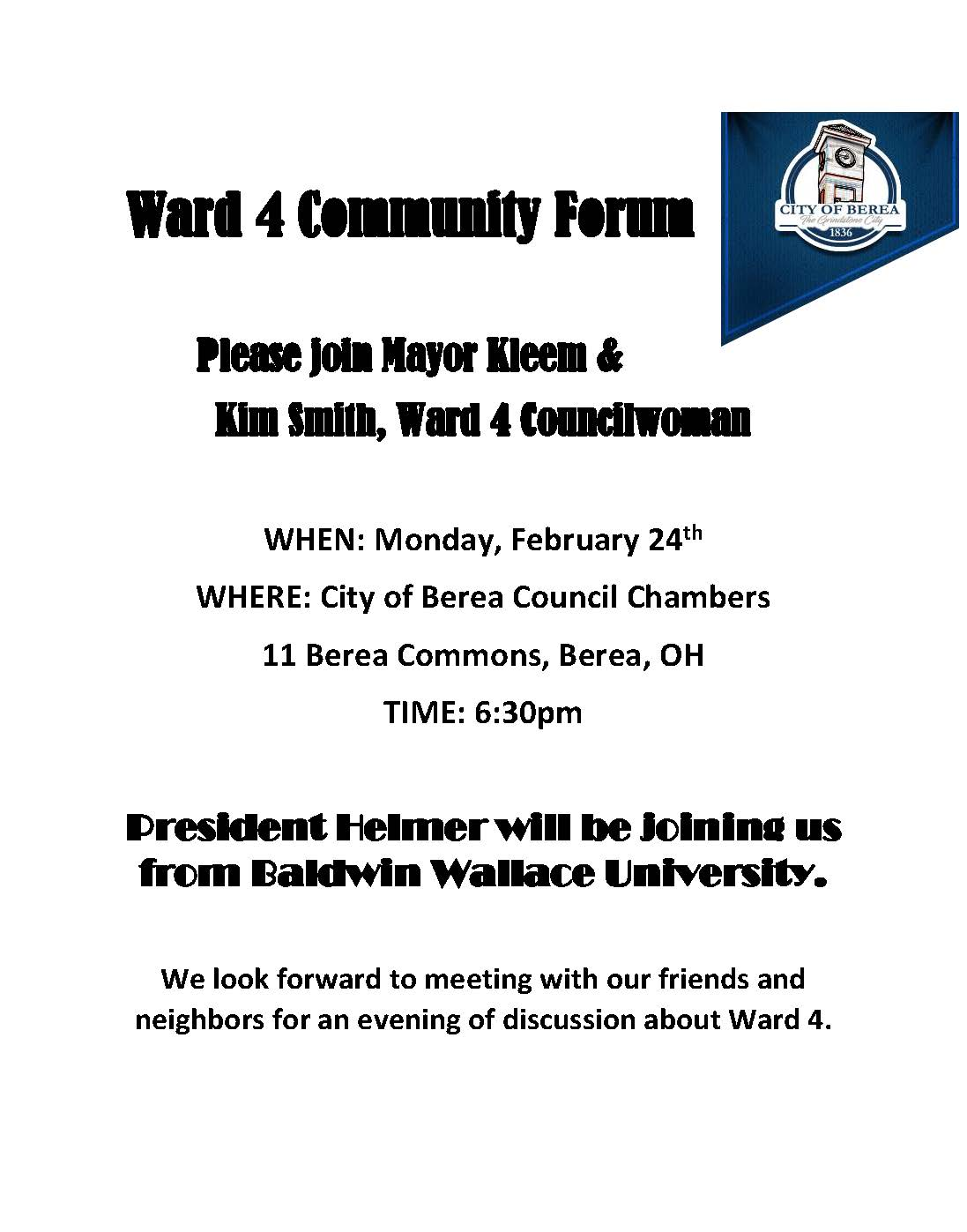 Ward 4 Community Forum flyer